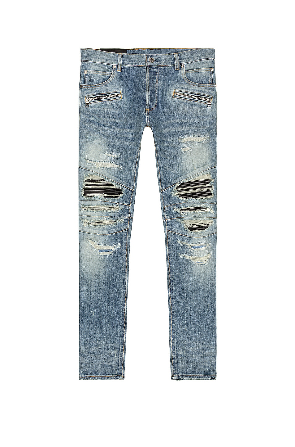 Image 1 of BALMAIN Ribbed Patch Slim Jeans in Blue Indigo
