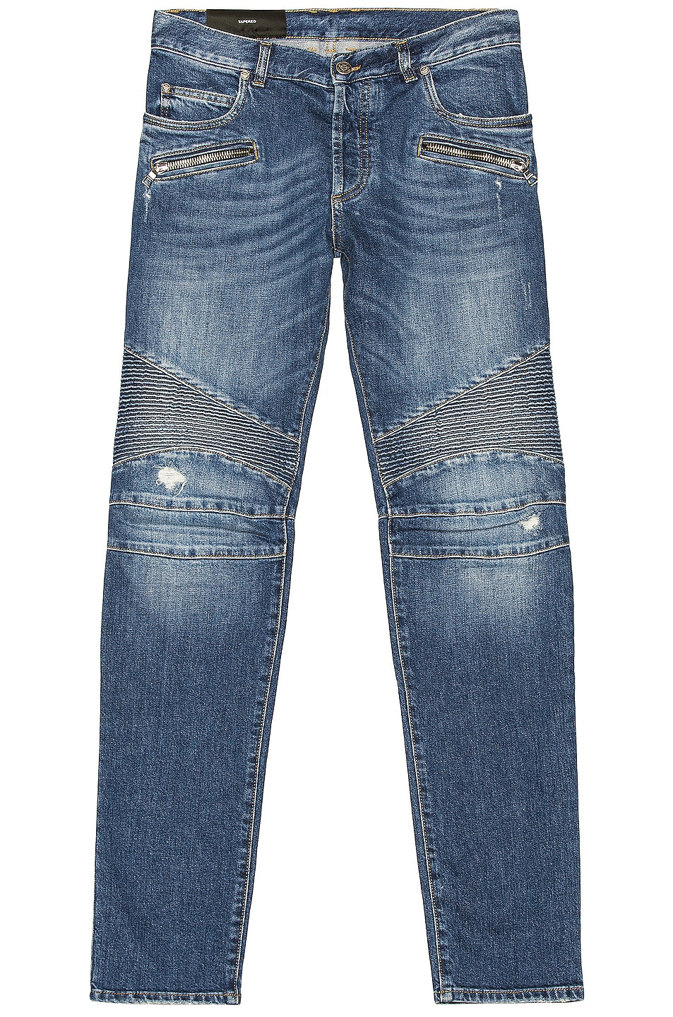 Image 1 of BALMAIN Ribbed Tapered Jeans in Blue
