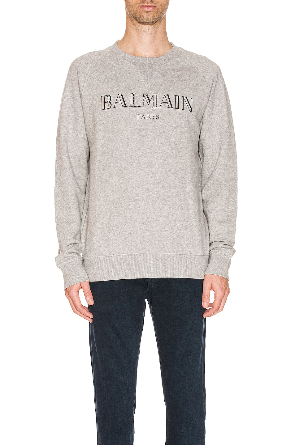 Image 1 of BALMAIN Logo Sweatshirt in Grey
