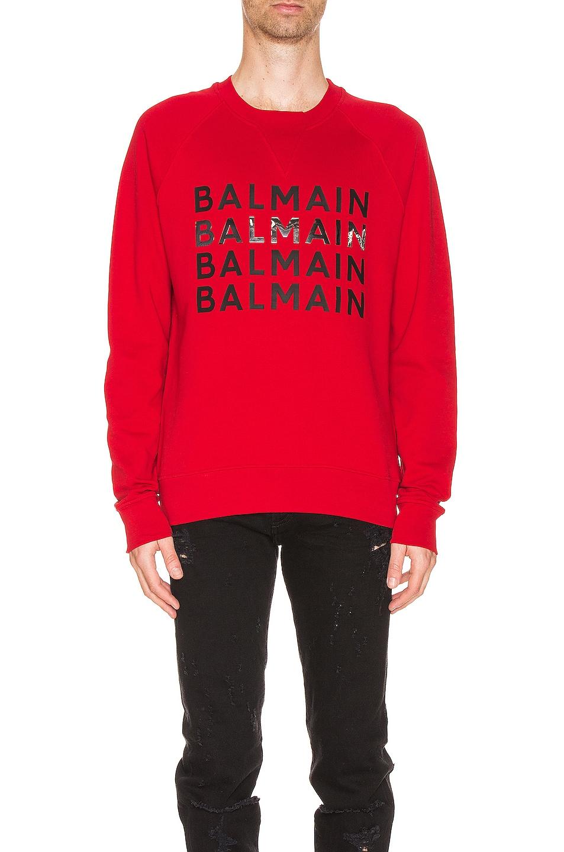 Image 1 of BALMAIN Logo Sweatshirt in Red