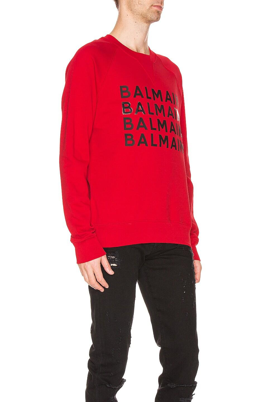 Image 2 of BALMAIN Logo Sweatshirt in Red