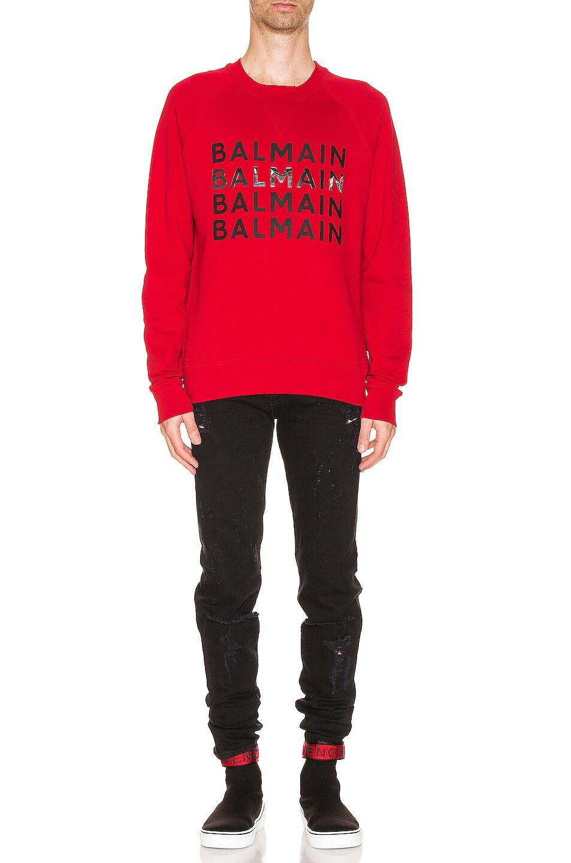 Image 4 of BALMAIN Logo Sweatshirt in Red