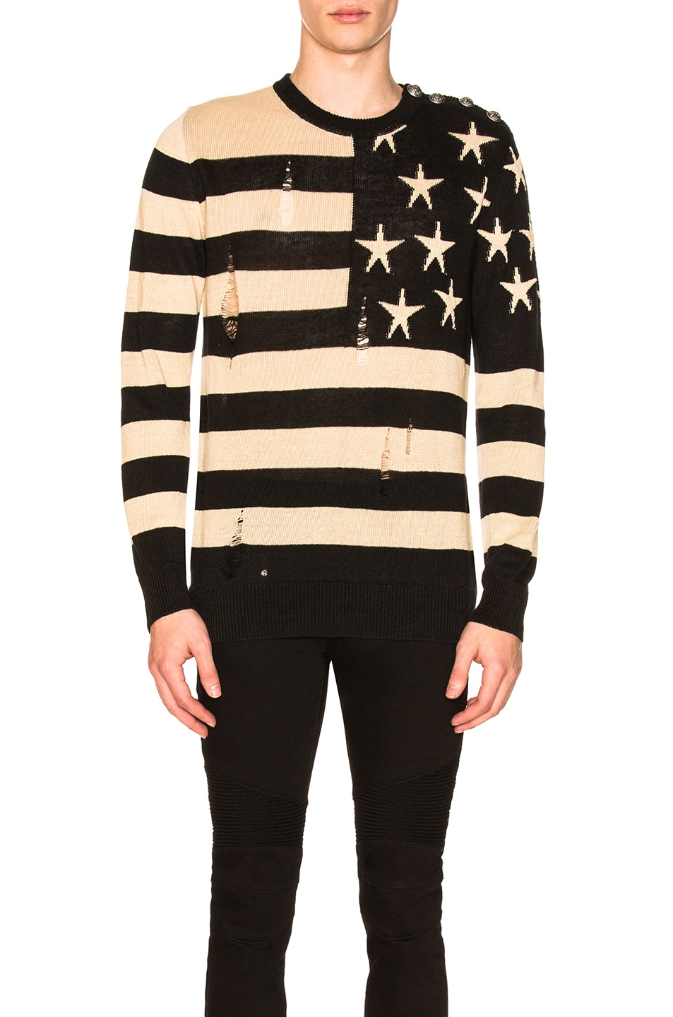 Image 1 of BALMAIN American Flag Pullover Sweater in Beige