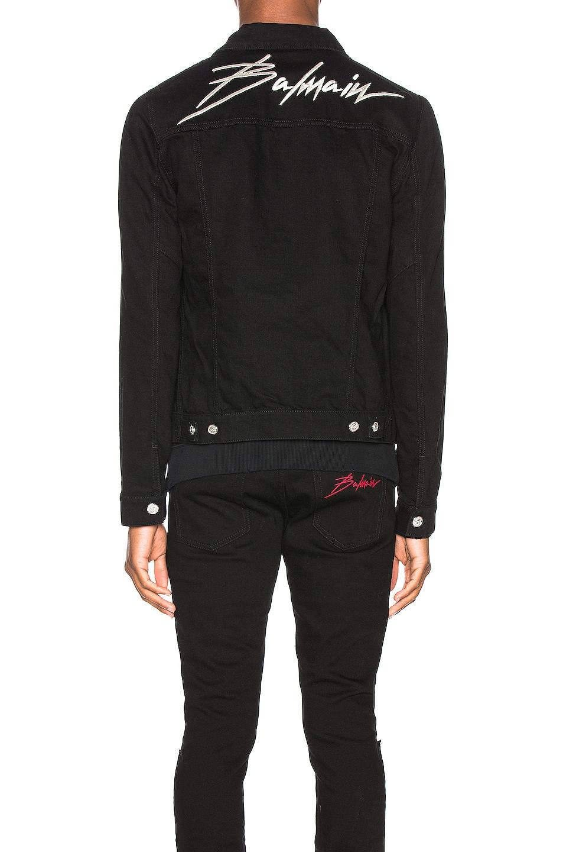 Image 4 of BALMAIN Embroidered Balmain Signature Denim Jacket in Noir