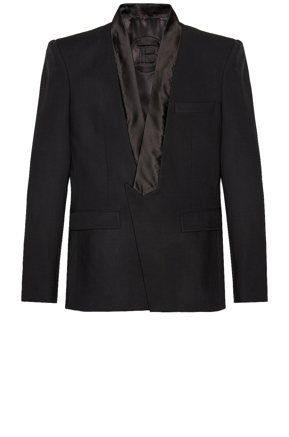 Image 1 of BALMAIN Collection Fit Pointed Collar Jacket in Noir