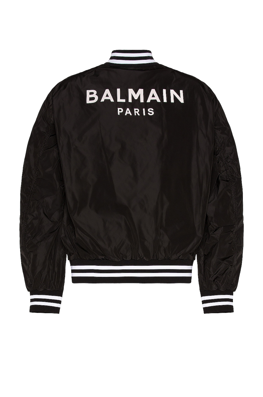 Image 1 of BALMAIN Nylon Bomber Jacket in Black
