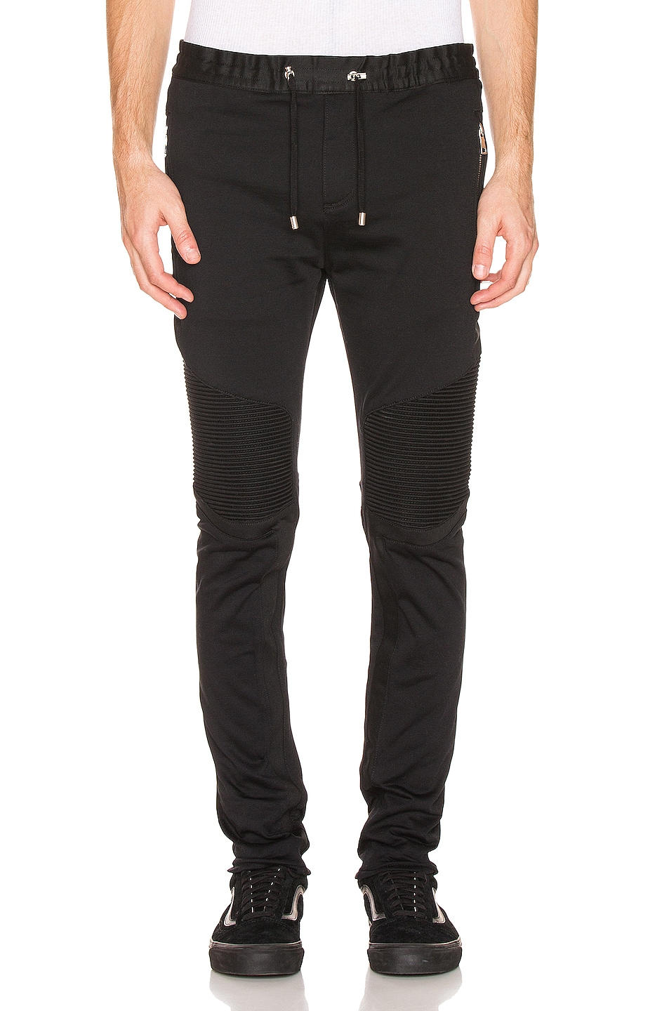 Image 1 of BALMAIN Ribbed Elastic Chino Pants in Black