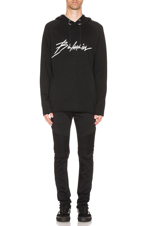 Image 4 of BALMAIN Ribbed Elastic Chino Pants in Black