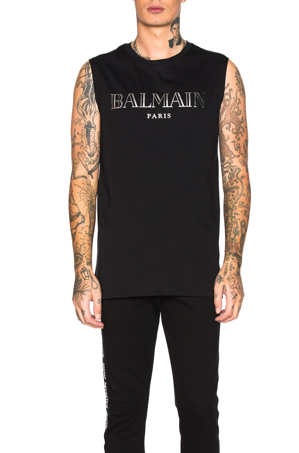 Image 1 of BALMAIN Balmain Paris Tank Top in Noir & Argent