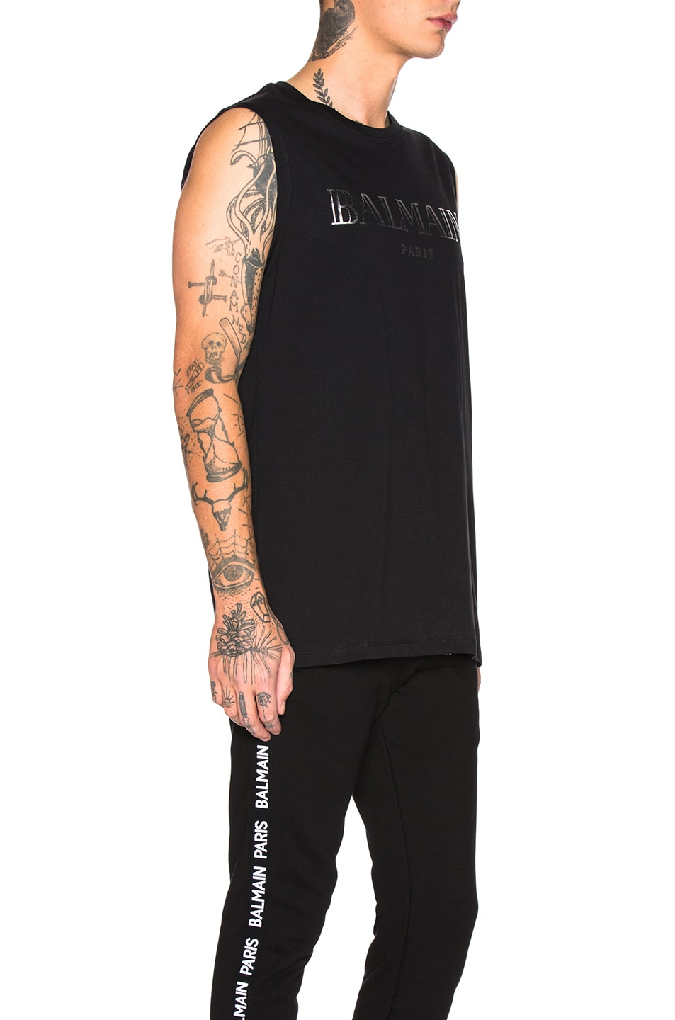 Image 2 of BALMAIN Balmain Paris Tank Top in Noir & Argent