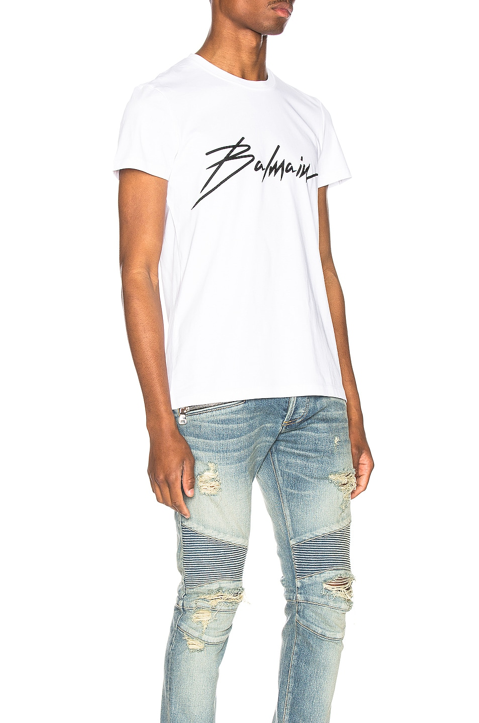 Image 2 of BALMAIN Signature T-Shirt in Blanc
