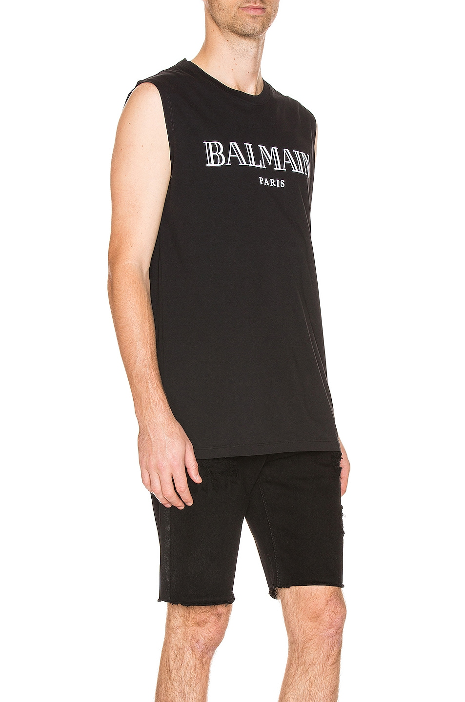 Image 2 of BALMAIN Oversized Logo Tank Top in Black