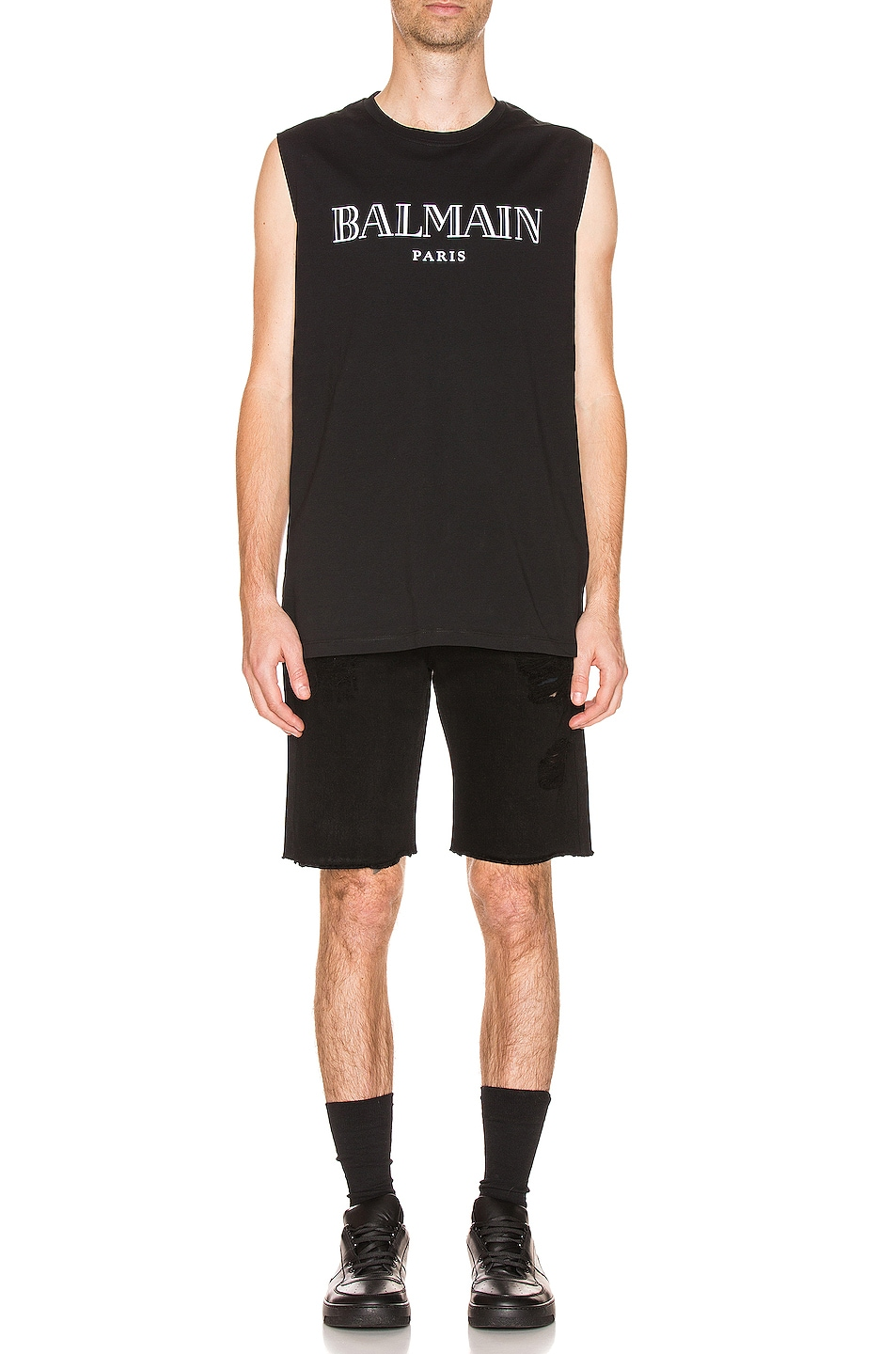 Image 4 of BALMAIN Oversized Logo Tank Top in Black