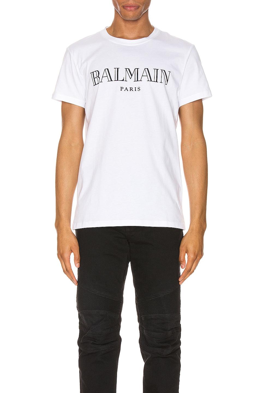 Image 1 of BALMAIN Paris Logo Tee in White