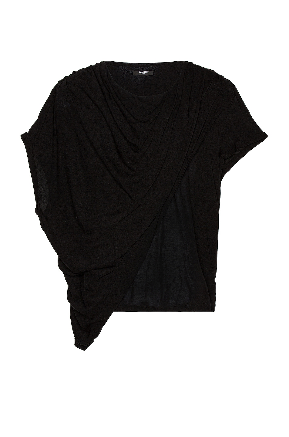 Image 1 of BALMAIN Draped T-Shirt in Noir