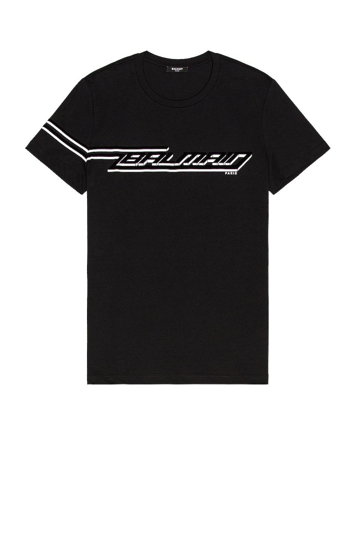Image 1 of BALMAIN Flock & Printed T-Shirt in Black