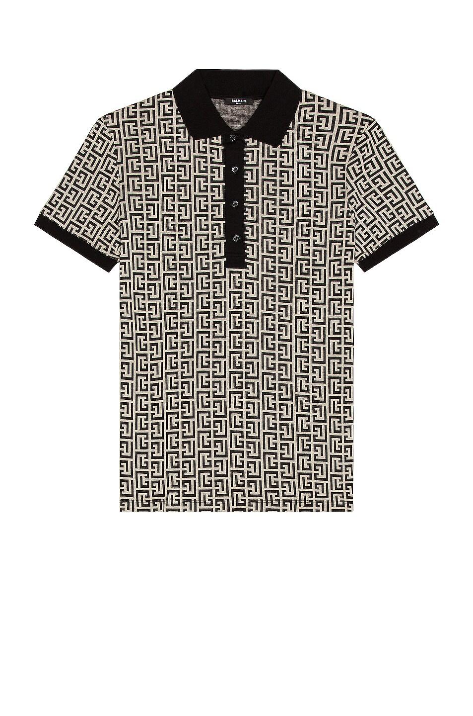 Image 1 of BALMAIN Monogram Jersey Polo Shirt in Black & White