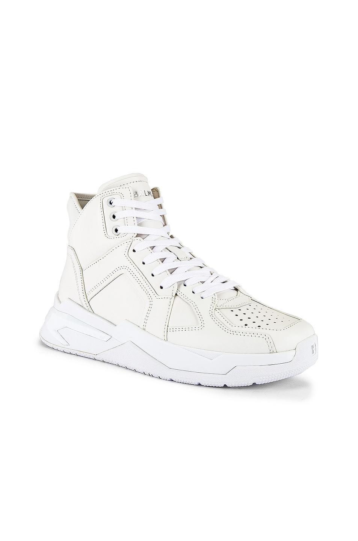 Image 1 of BALMAIN B-Ball Leather Sneaker in Blanc & Black Optique