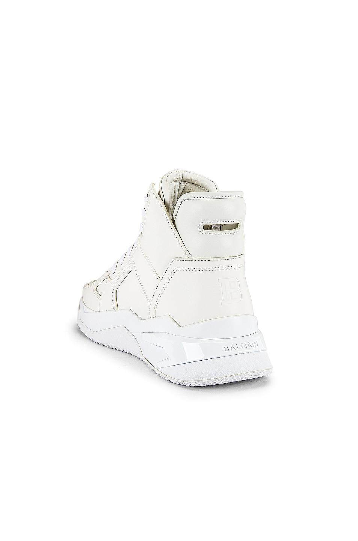 Image 3 of BALMAIN B-Ball Leather Sneaker in Blanc & Black Optique