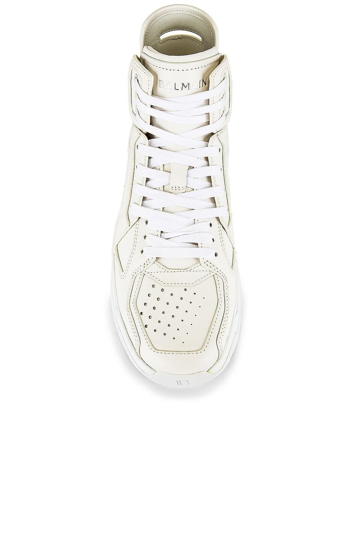 Image 4 of BALMAIN B-Ball Leather Sneaker in Blanc & Black Optique
