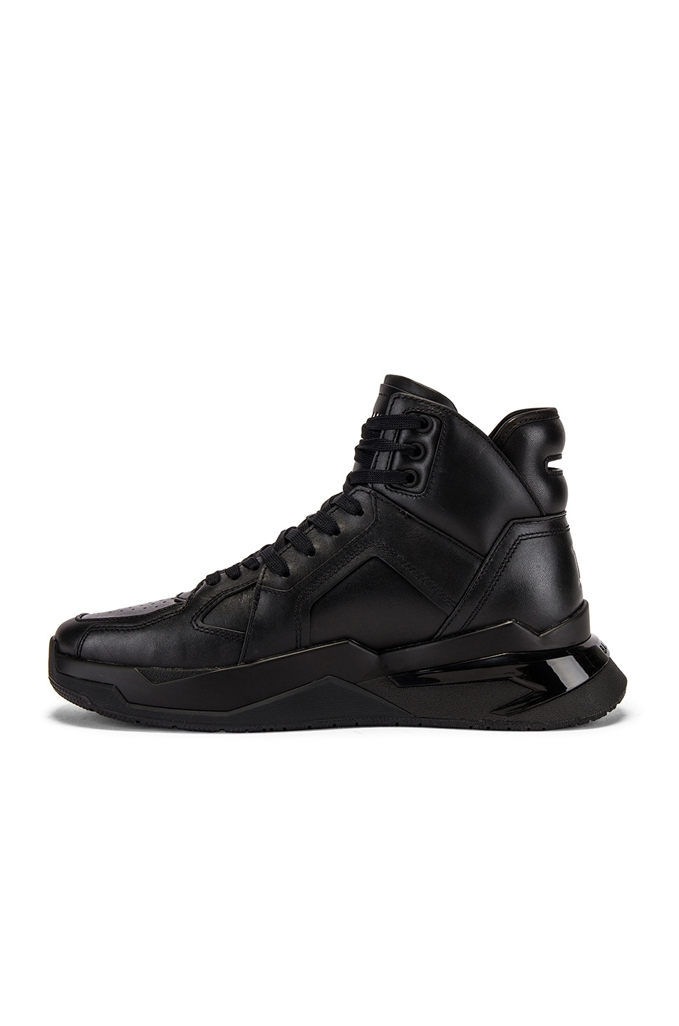 Image 5 of BALMAIN B-Ball Leather Sneaker in Noir & Noir