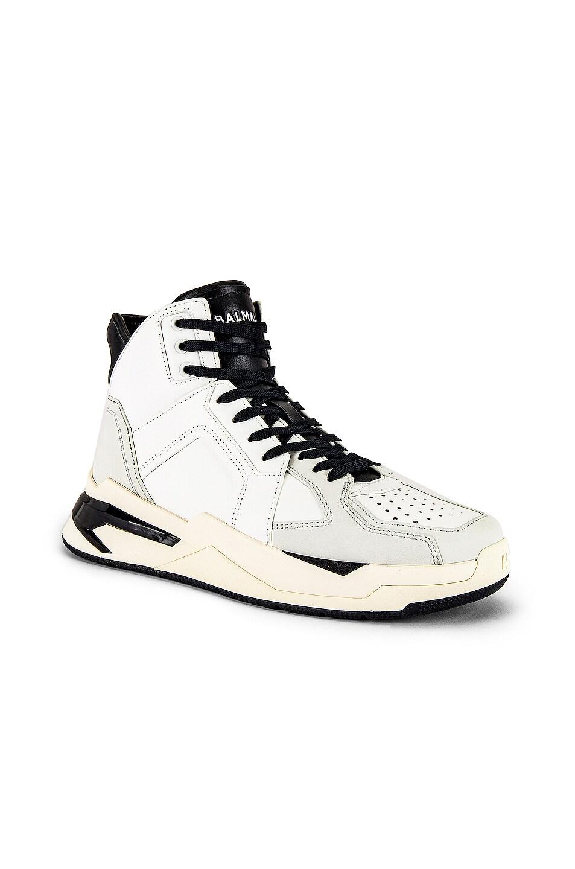 Image 1 of BALMAIN B-Ball Leather Sneaker in Black & Noir
