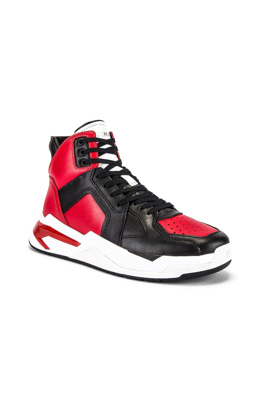 Image 1 of BALMAIN B-Ball Leather Sneaker in Rouge & Noir