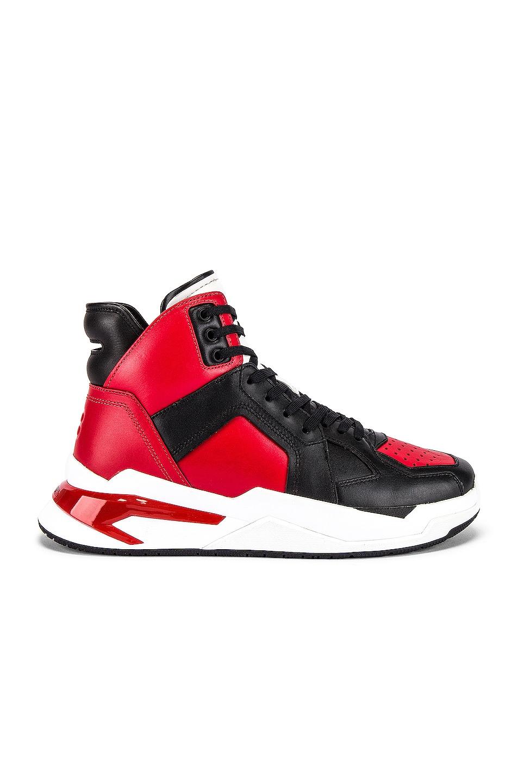 Image 2 of BALMAIN B-Ball Leather Sneaker in Rouge & Noir