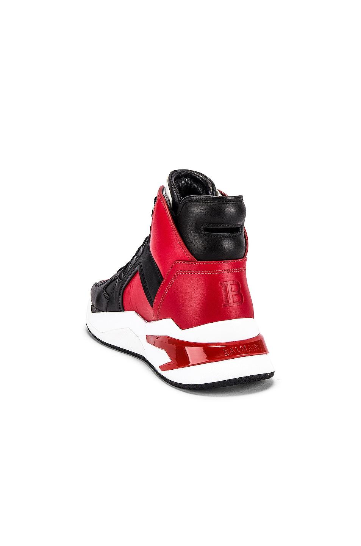 Image 3 of BALMAIN B-Ball Leather Sneaker in Rouge & Noir