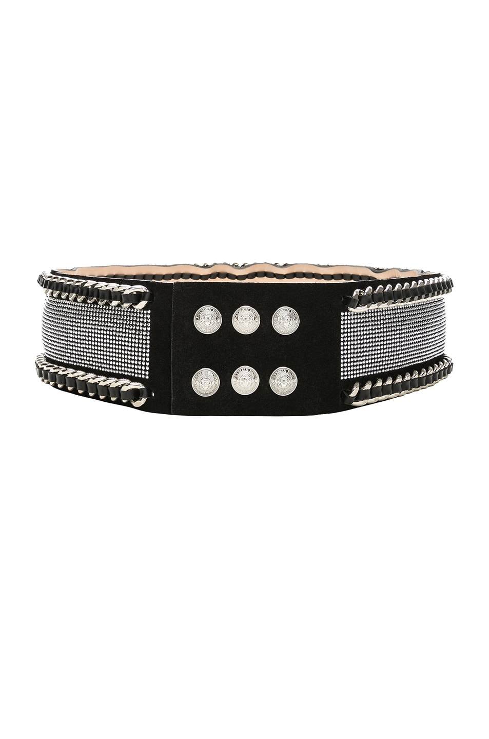 Image 2 of BALMAIN High Waist Chain Belt in Black & Silver