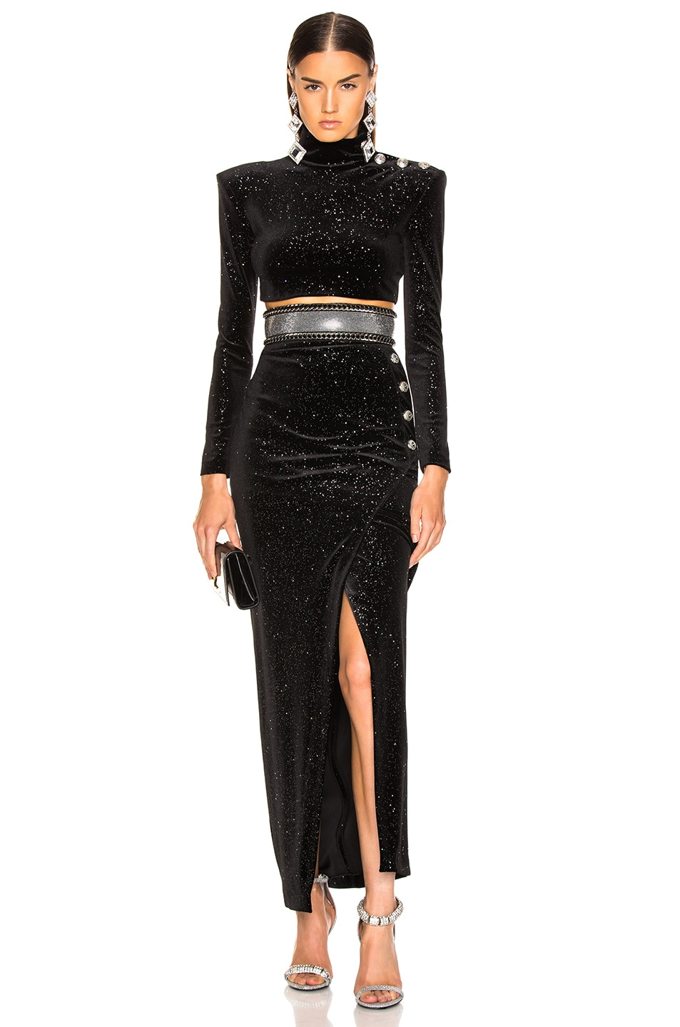 Image 3 of BALMAIN High Waist Chain Belt in Black & Silver