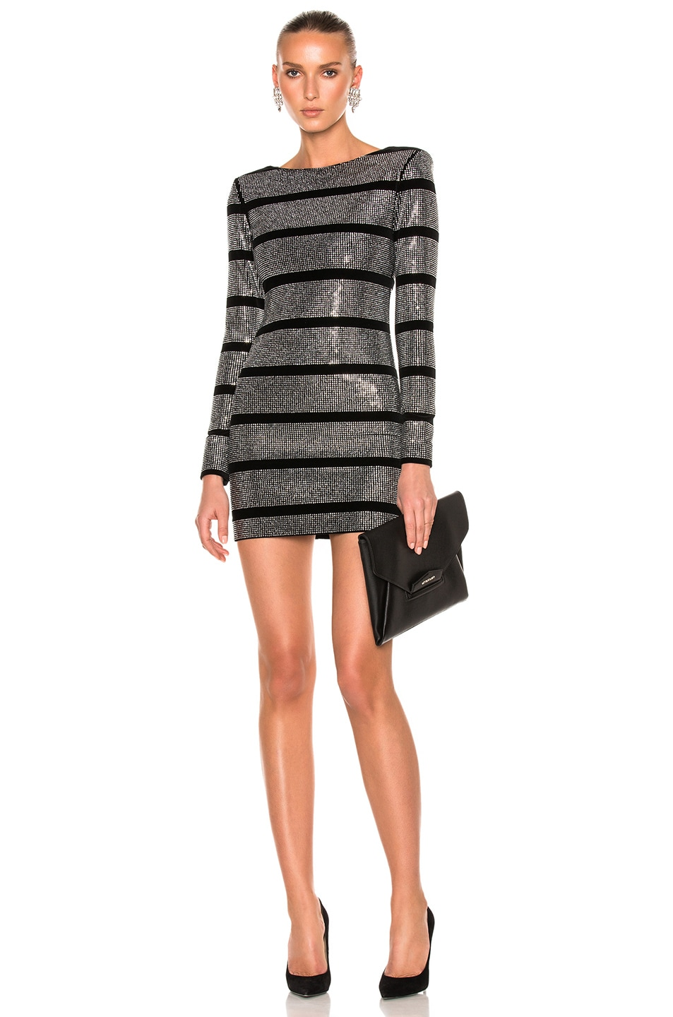 858aa04dde3 Image 1 of BALMAIN Velvet Embellished Mini Dress in Black   Silver