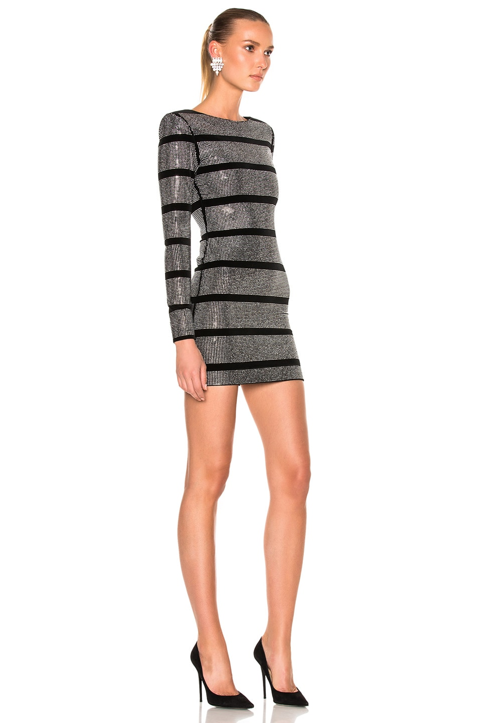 41f20eddf18 Image 3 of BALMAIN Velvet Embellished Mini Dress in Black   Silver