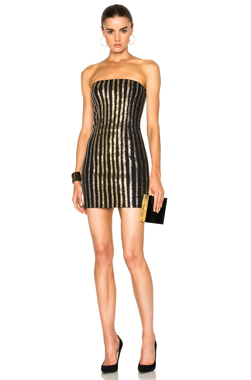 Balmain Strapless Sequin Mini Dress In Black Gold Silver Fwrd