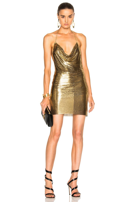 Image 1 Of Balmain Metallic Halter Dress In Gold