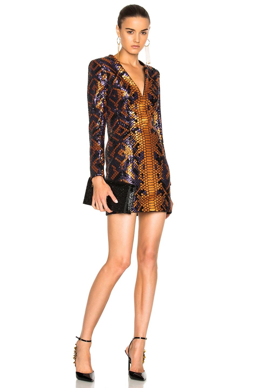 b54048fb59 Image 1 of BALMAIN Snake Print Mini Dress in Violet, Orange & Black