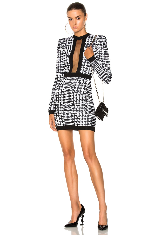 39c3e842b3 Image 1 of BALMAIN Printed Sheer Panel Mini Dress in Black & White