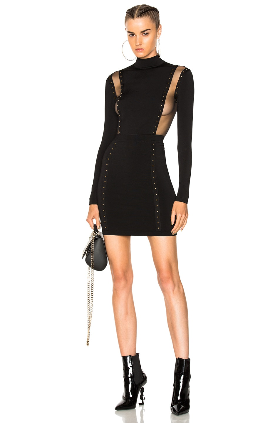 5e6bb5a3 Image 1 of BALMAIN Studded Mini Dress in Black