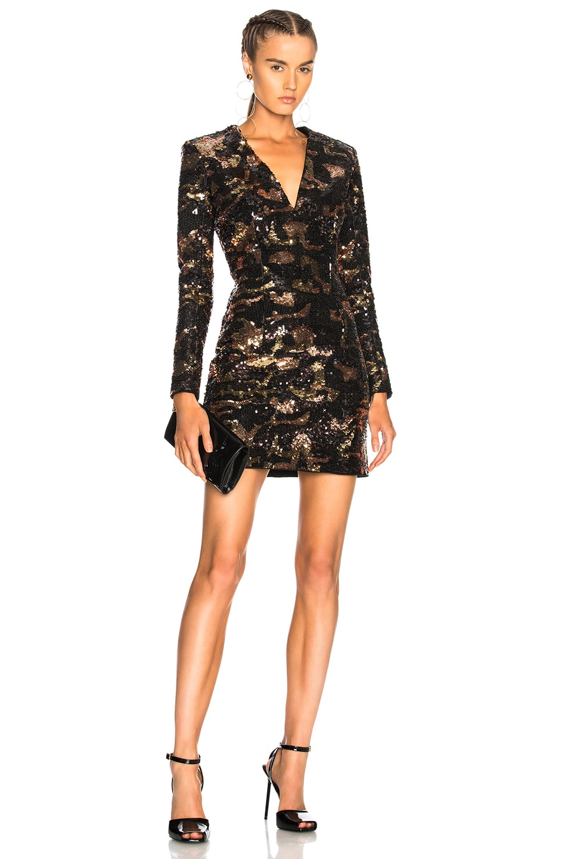 BALMAIN Sequined Mini Dress in Black,Metallics