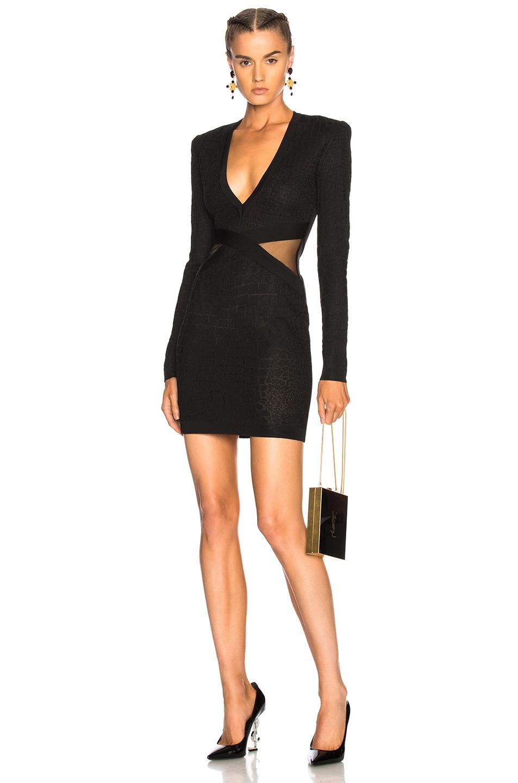 BALMAIN Croc Printed Long Sleeve Mini Dress in Black