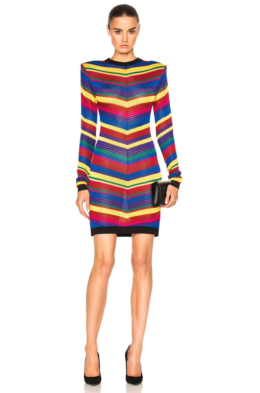 9503bacd Image 1 of BALMAIN Stripe Dress in Multi