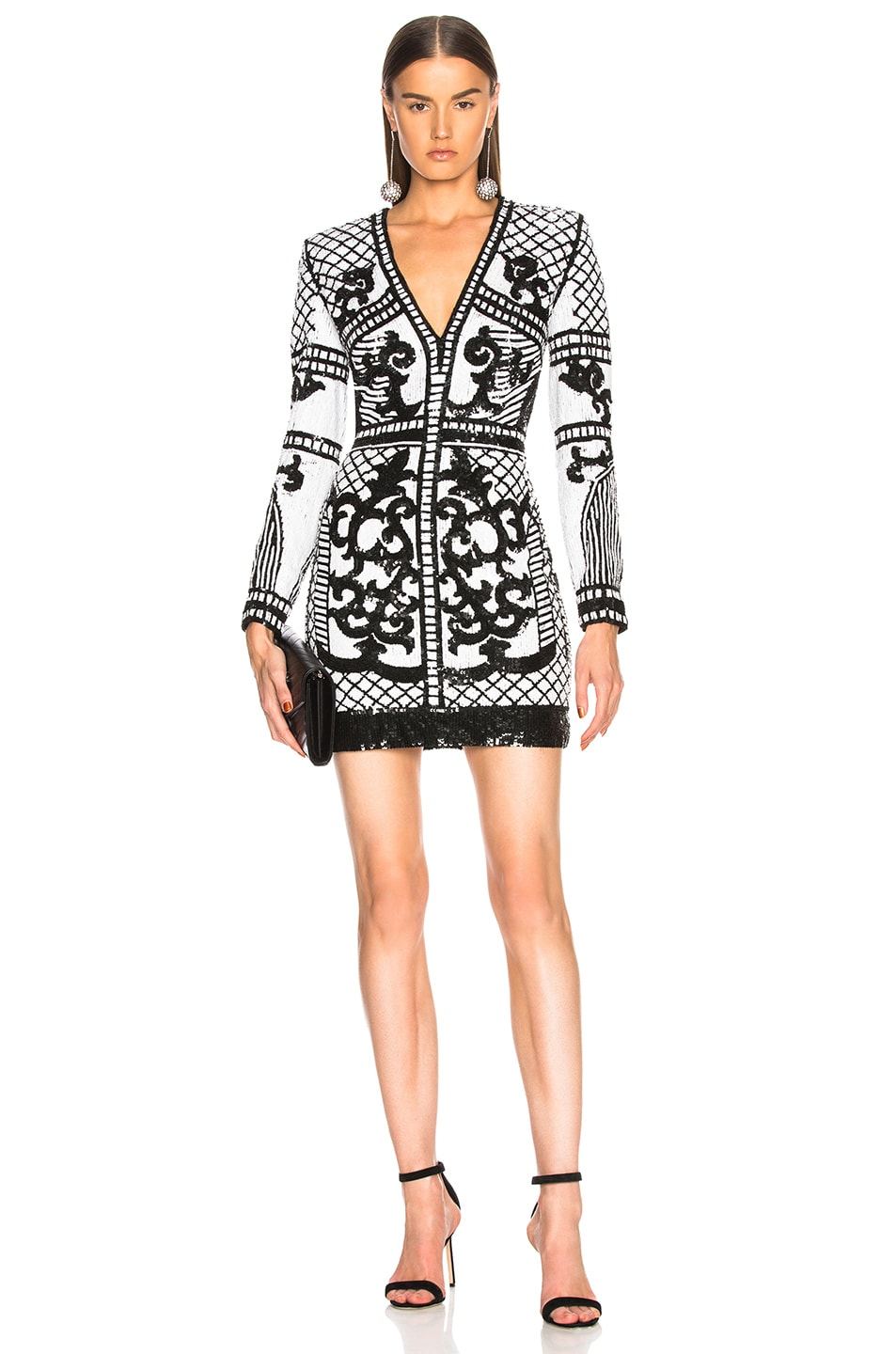 d1db68c6 Image 1 of BALMAIN Sequin Mini Dress in Black & White