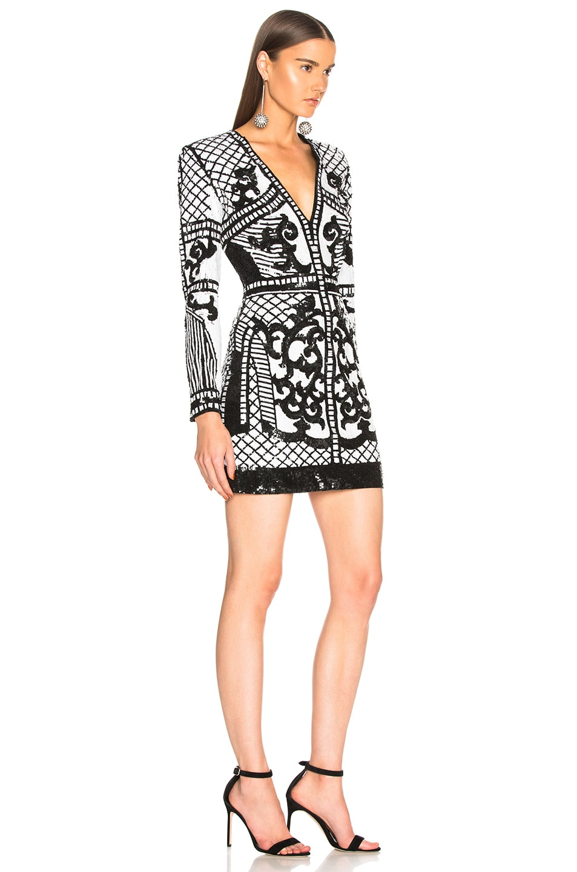 18c589c335 Image 2 of BALMAIN Sequin Mini Dress in Black & White