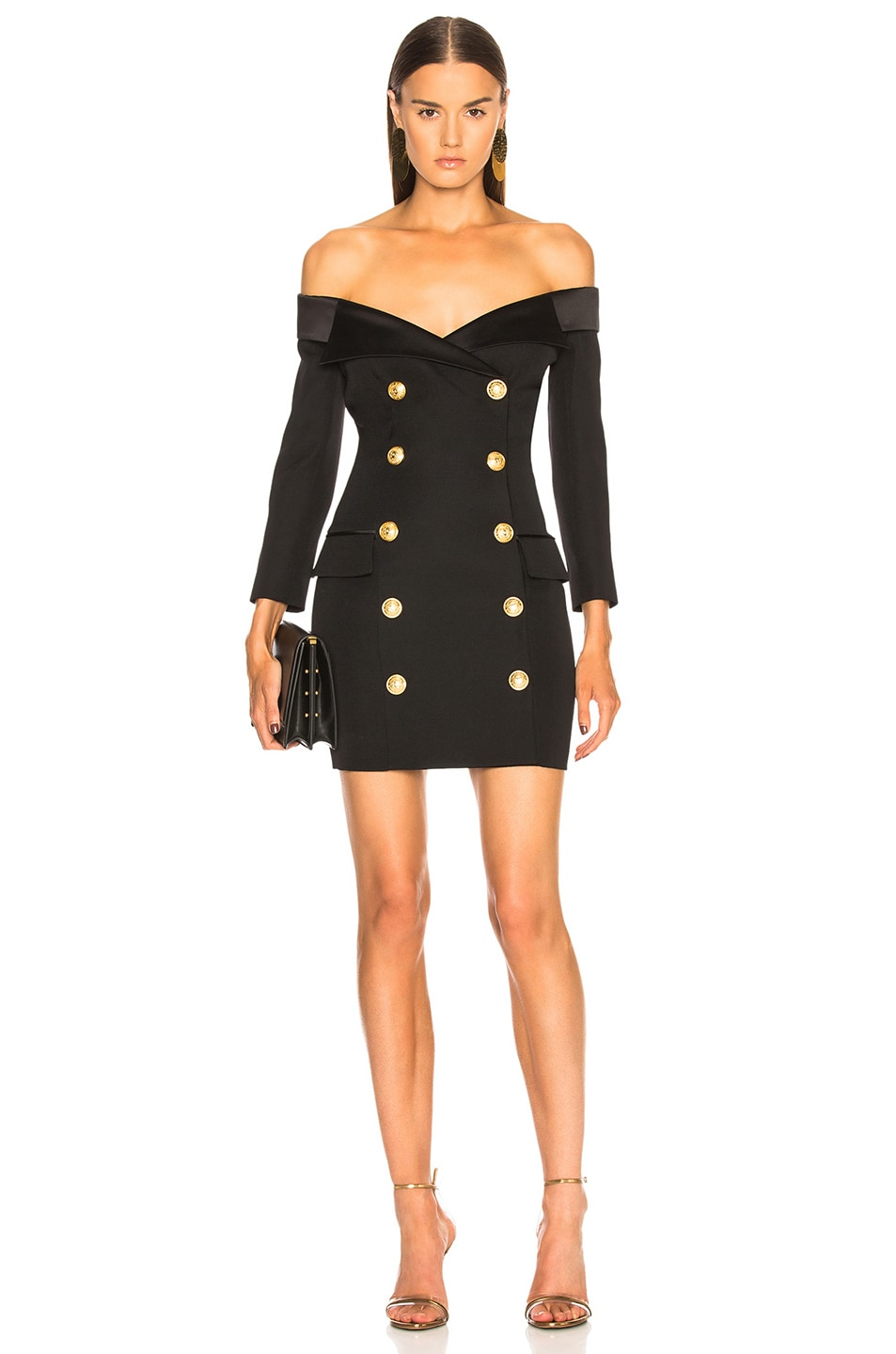 164d158f Image 1 of BALMAIN Double Breasted Off Shoulder Blazer Dress in Black