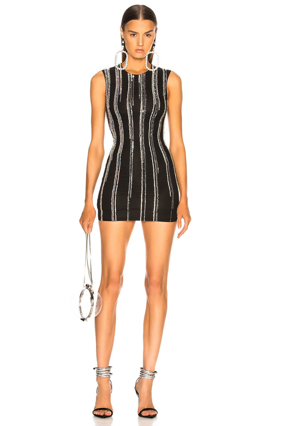 54d887e8 Image 1 of BALMAIN Striped Sequin Sleeveless Mini Dress in Black &  Holographic Silver
