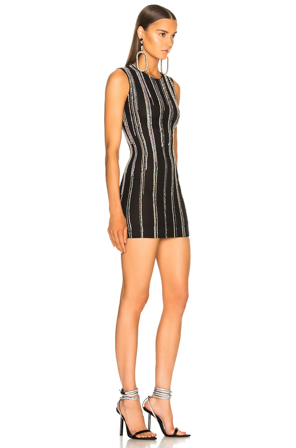 Image 2 of BALMAIN Striped Sequin Sleeveless Mini Dress in Black & Holographic Silver
