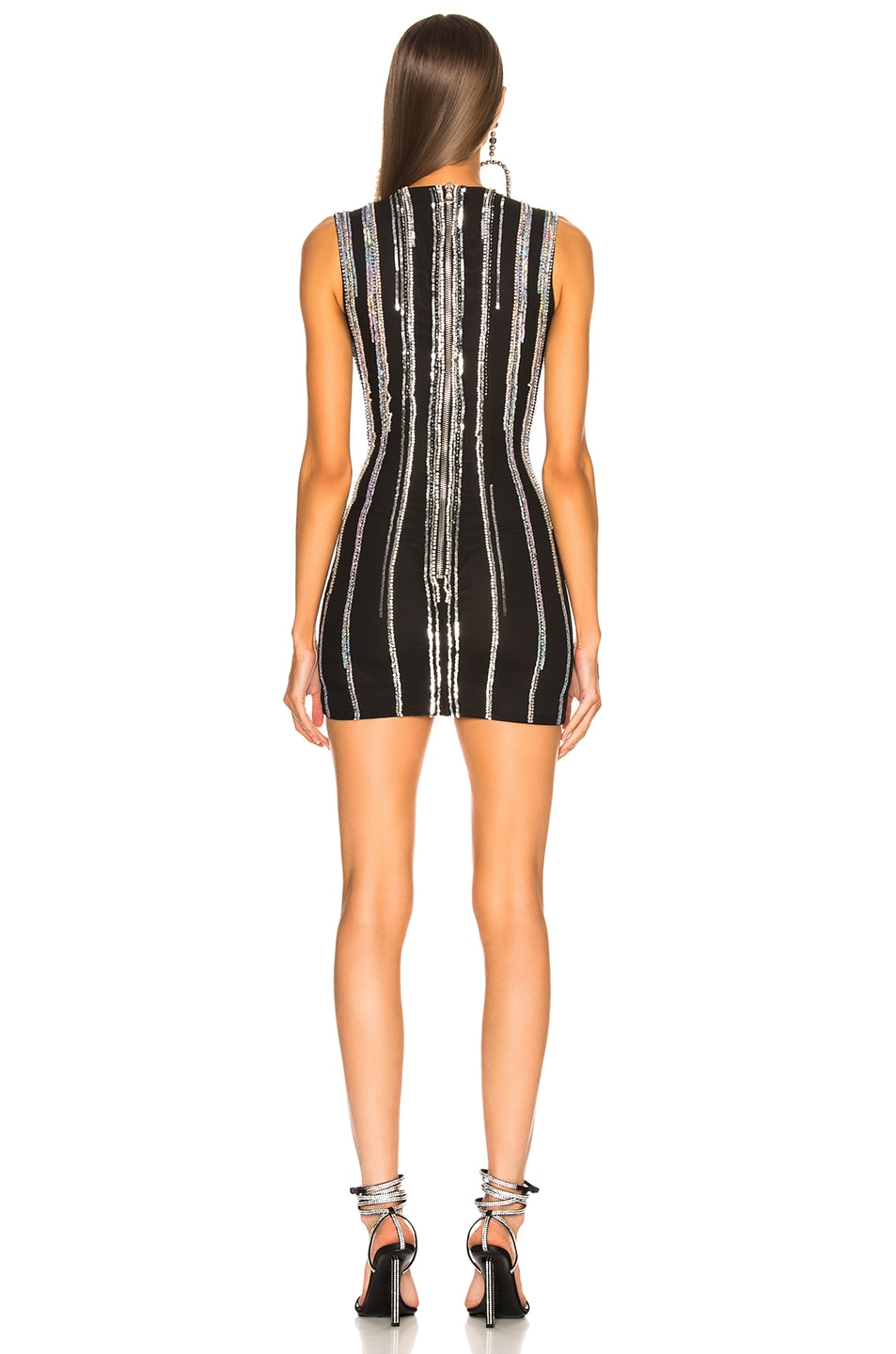 Image 3 of BALMAIN Striped Sequin Sleeveless Mini Dress in Black & Holographic Silver