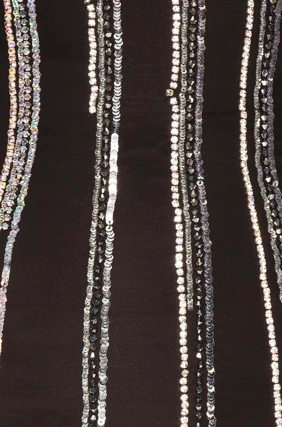 Image 4 of BALMAIN Striped Sequin Sleeveless Mini Dress in Black & Holographic Silver