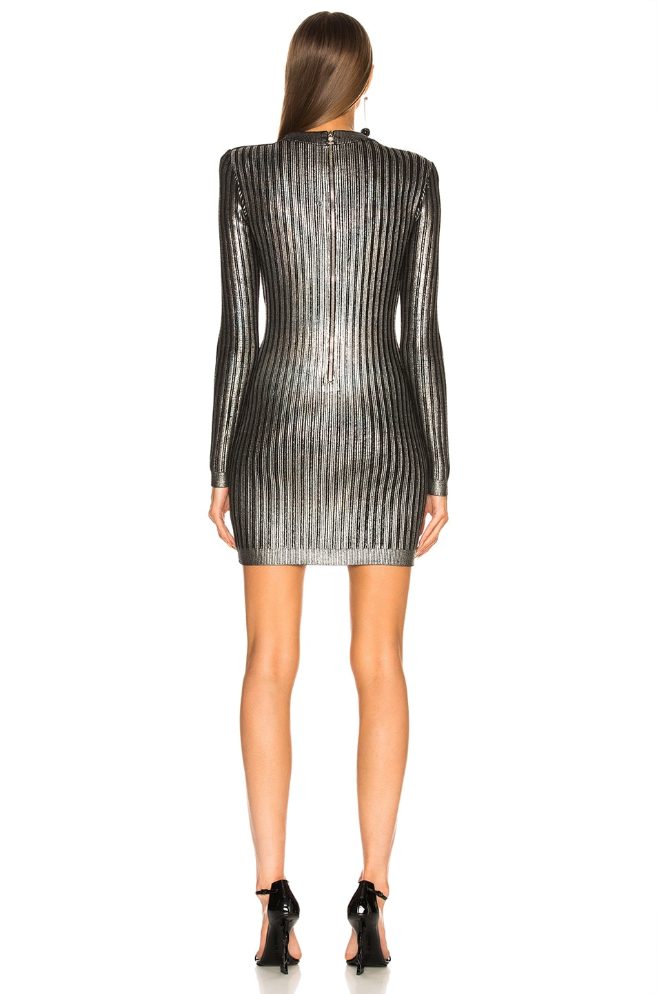 Image 3 of BALMAIN Ribbed Long Sleeve Mini Dress in Holographic Silver & Black