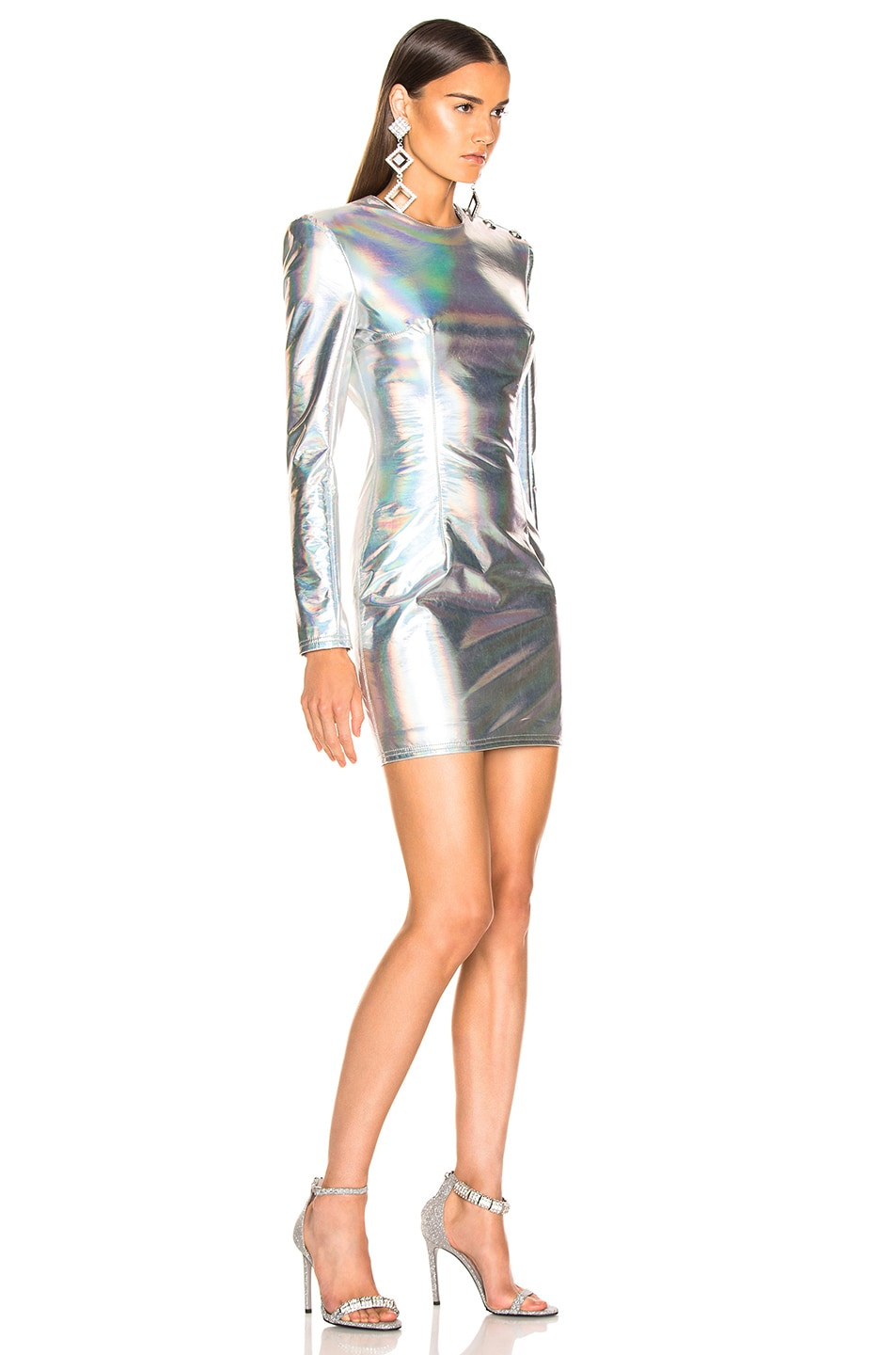 Image 2 of BALMAIN Long Sleeve Mini Dress in Holographic Silver